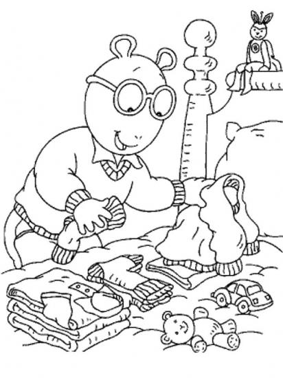 דף צביעה ארתור מקפל כביסה
