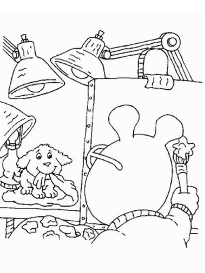 דפי צביעה ארתור מצייר את חבר הכלב