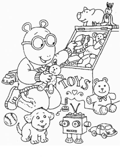 דף צביעה של ארתור וחבר משחקים