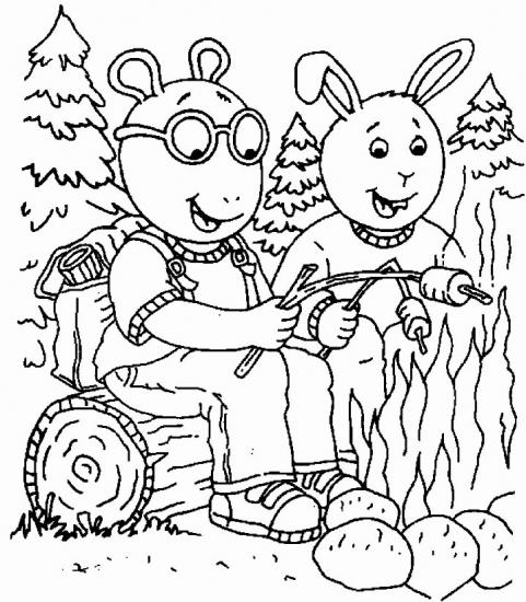 דפי צביעה ארתור וחברים אוכלים מרשמלו