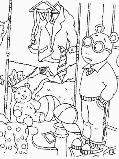 דף צביעה ארתור וארון הבגדים שלו