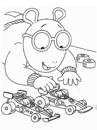 דף צביעה ארתור משחק במכוניות