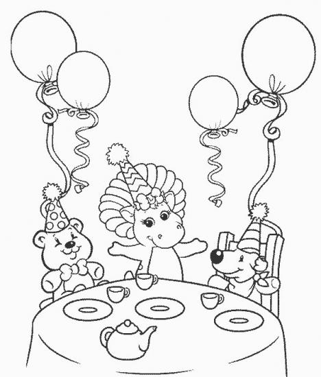 דף צביעה חוגגים יום הולדת עם ברני