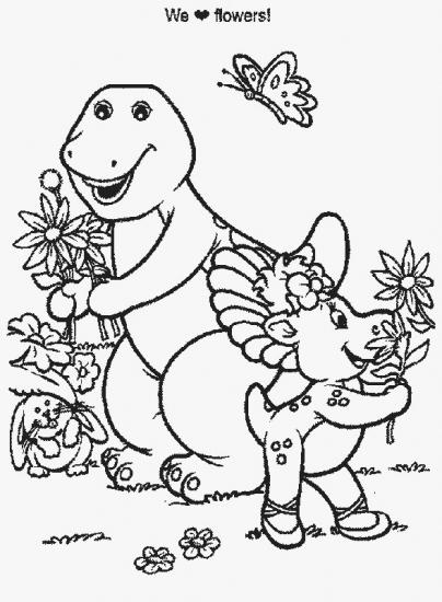 דף צביעה של ברני וחברתו קוטפים פרחים