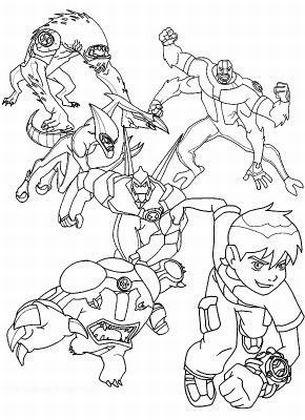 דף צביעה-חייזרים ודמויות