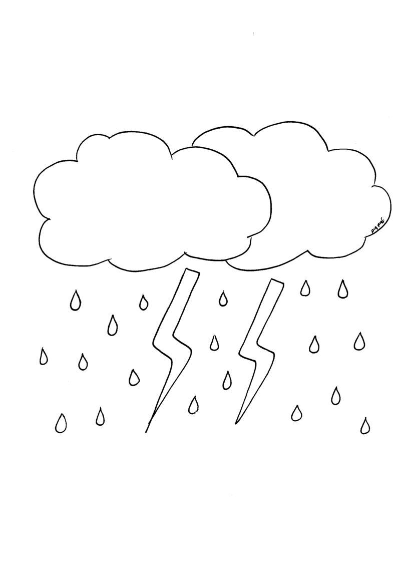 דף צביעה עננים וגשם