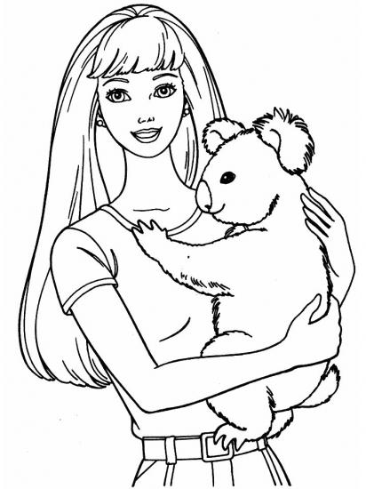 דף צביעה ברבי עם דובי קוואלה