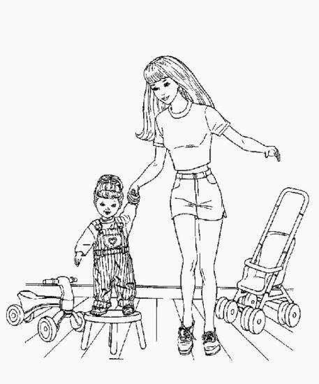 דף צביעה ברבי עם הבת שלה