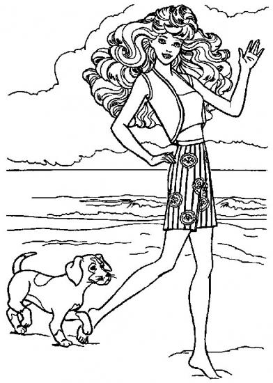 דפי צביעה ברבי עם כלב