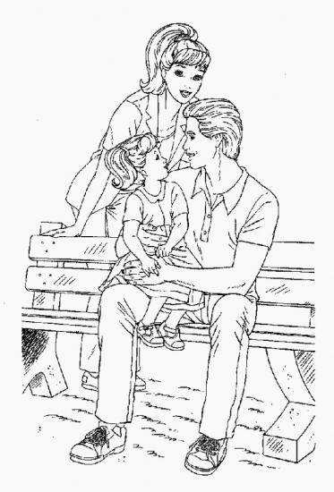 דף צביעה ברבי עם משפחתה