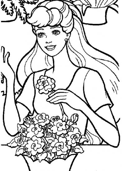 דף צביעה ברבי עם פרחים