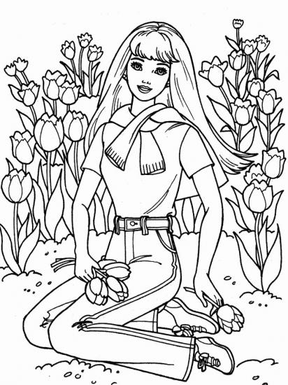 דפי צביעה ברבי קוטפת פרחים
