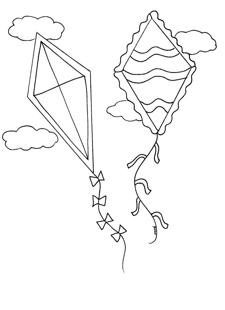 דף צביעה לאביב עפיפונים