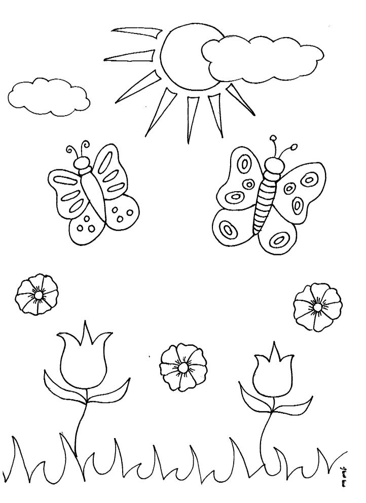 דפי צביעה לאביב פרפרים