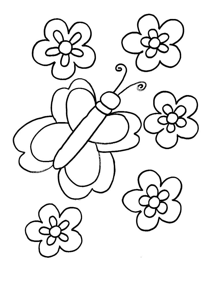 צביעה פרפר ופרחים לאביב