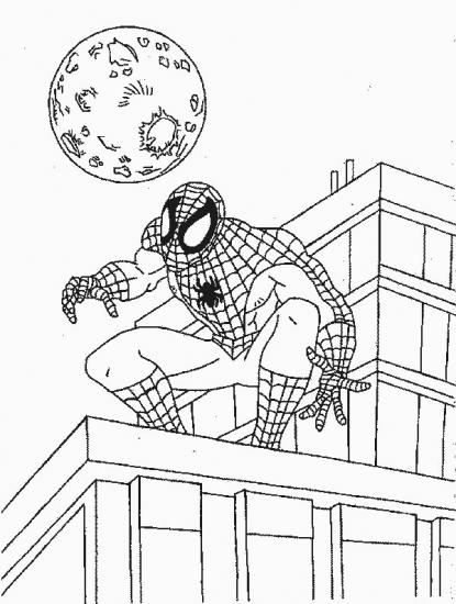 דף צביעה ספיידרמן על הגג