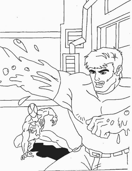 דף צביעה ספיידרמן בקרב