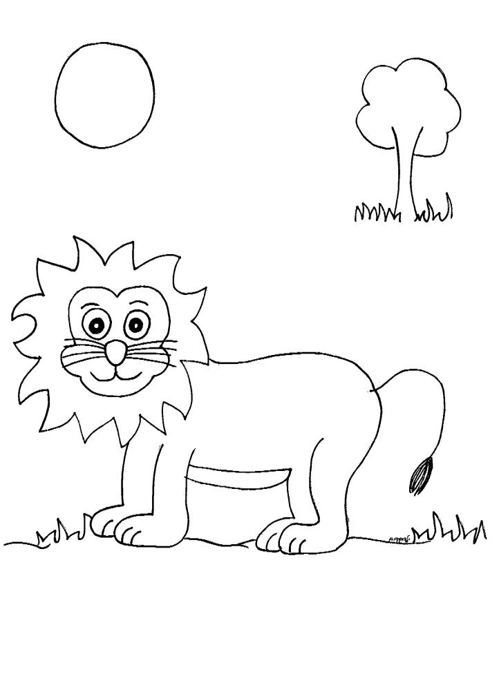 דף צביעה של אריה