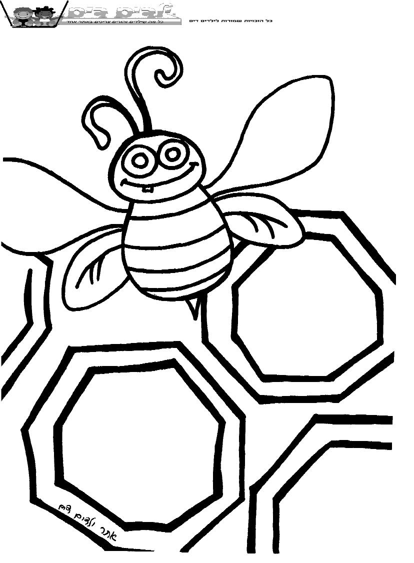 דף ציור דבורים בכוורת