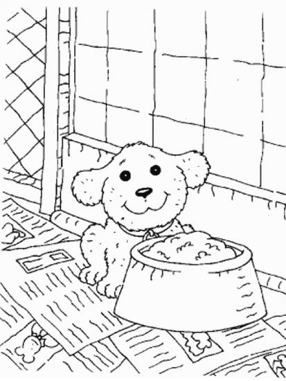 דף צביעה של חבר הכלב אוכל