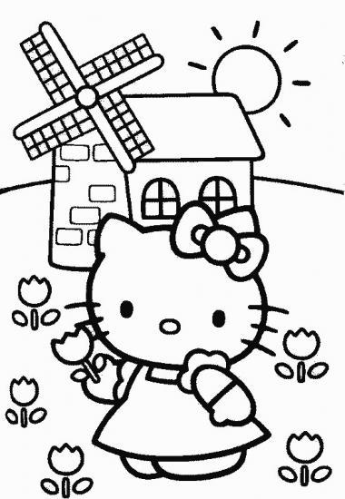 דף צביעה קייטי קוטפת פרח