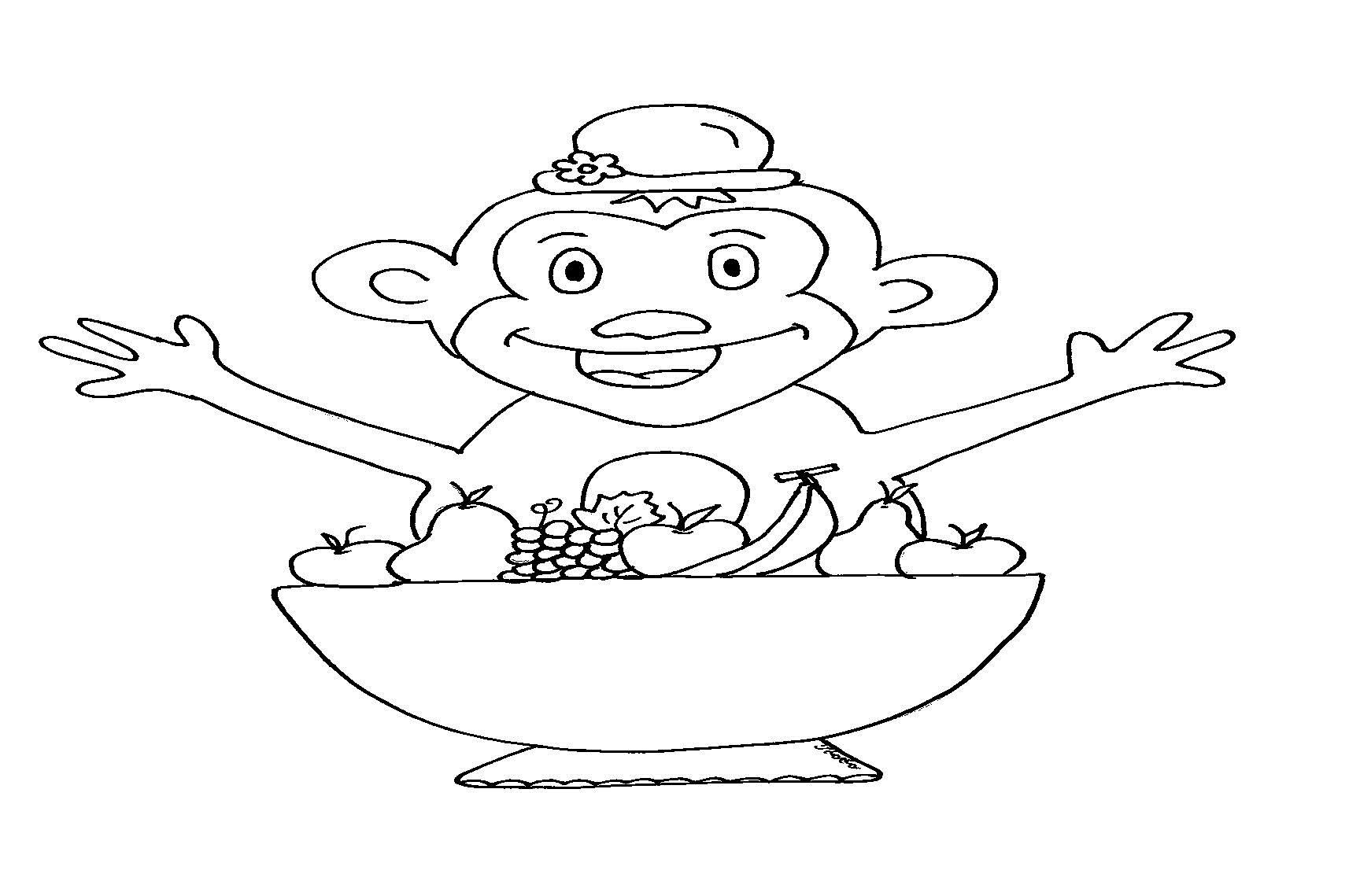 דף ציור קוף