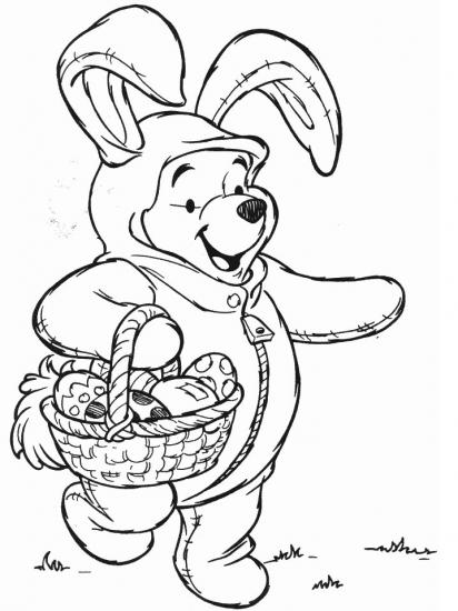 דף צביעה פו הדב מחופש לארנב