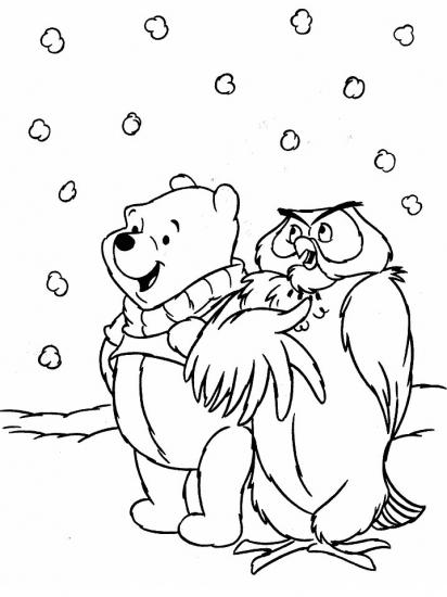 דף צביעה פו הדב וינשוף בשלג