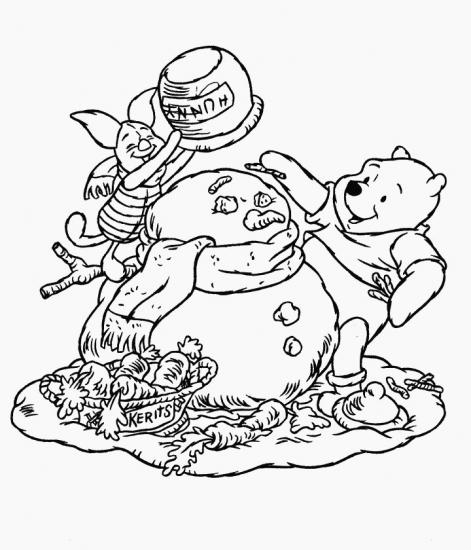 דפי צביעה של פו הדב וחזרזיר עם איש שלג