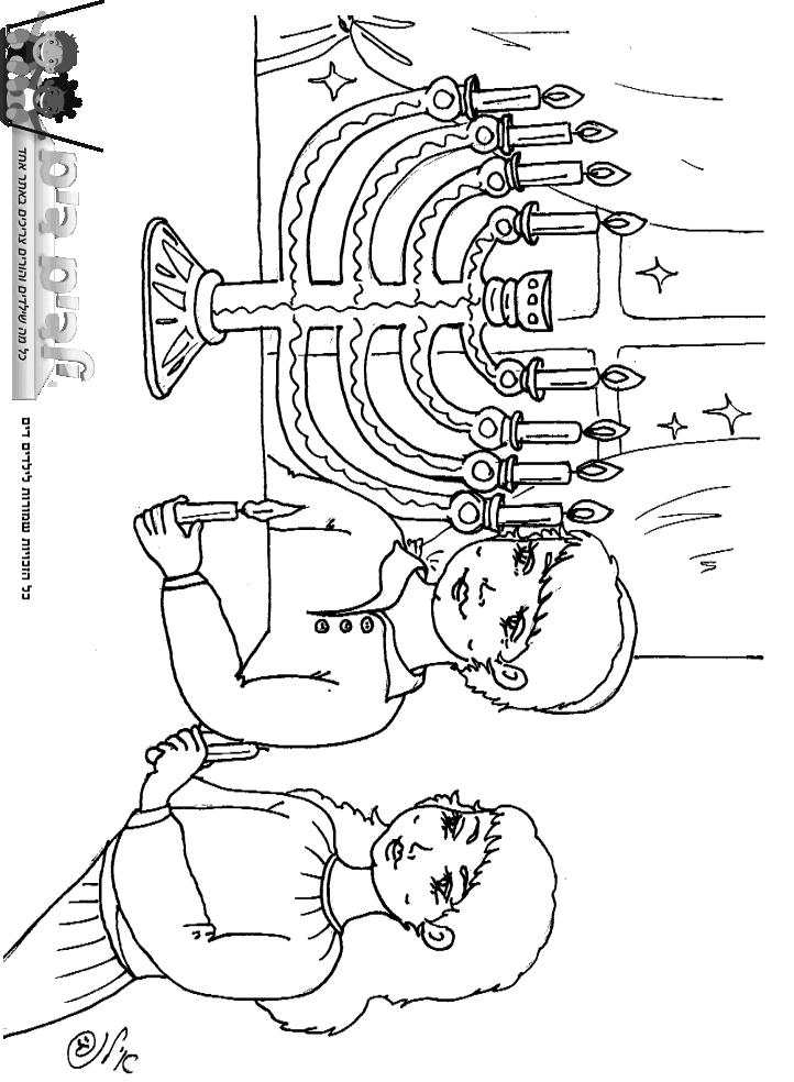 דף צביעה הדלקת נרות חנוכה