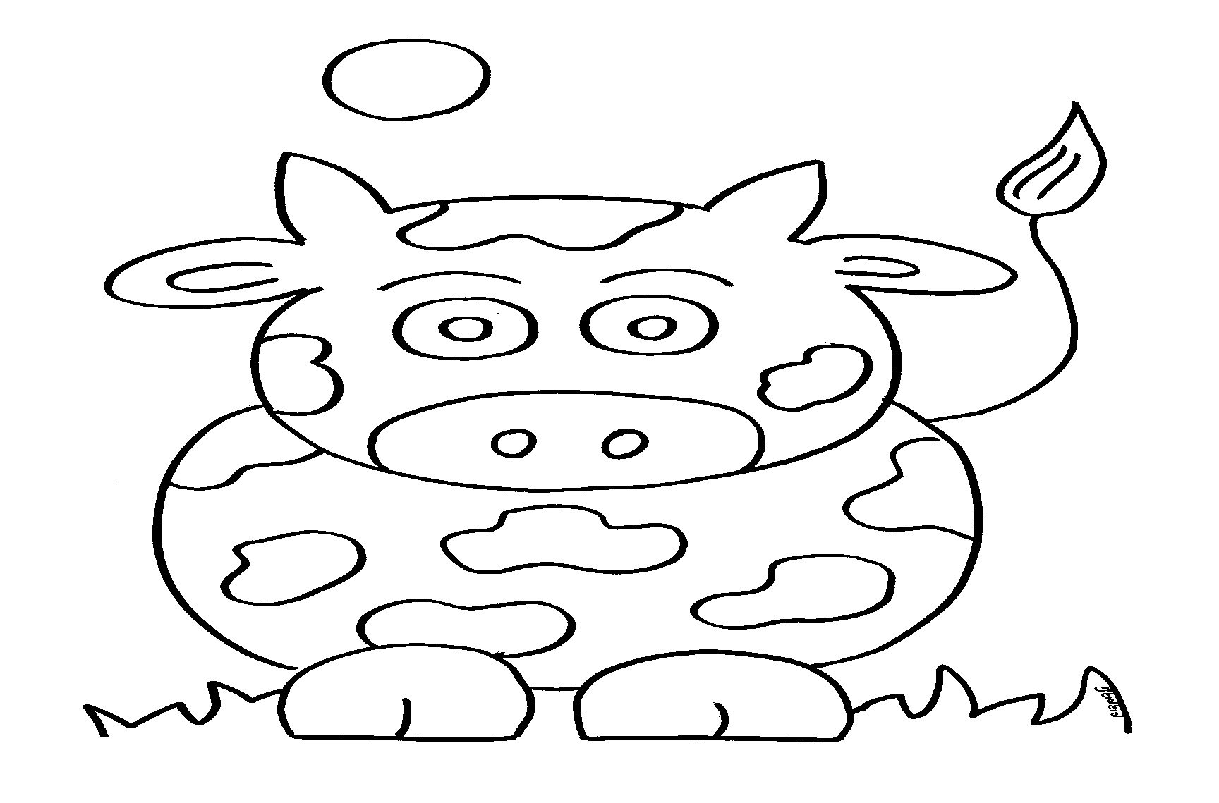 דף ציור פרה